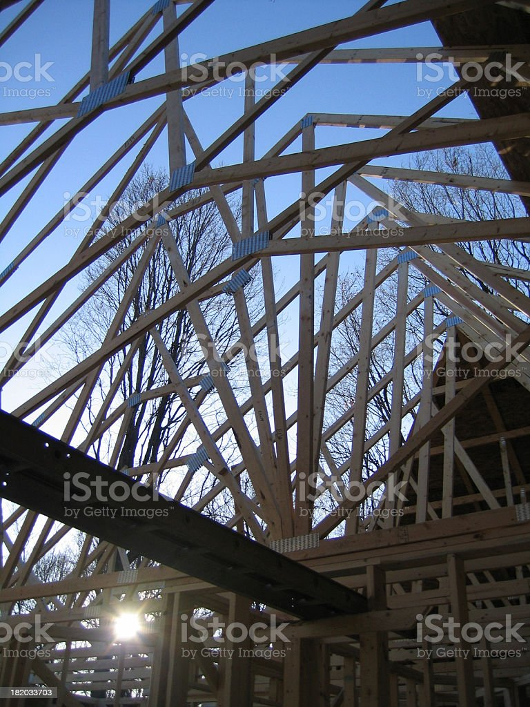 Construction: Roof Frame in Sunlight royalty-free stock photo