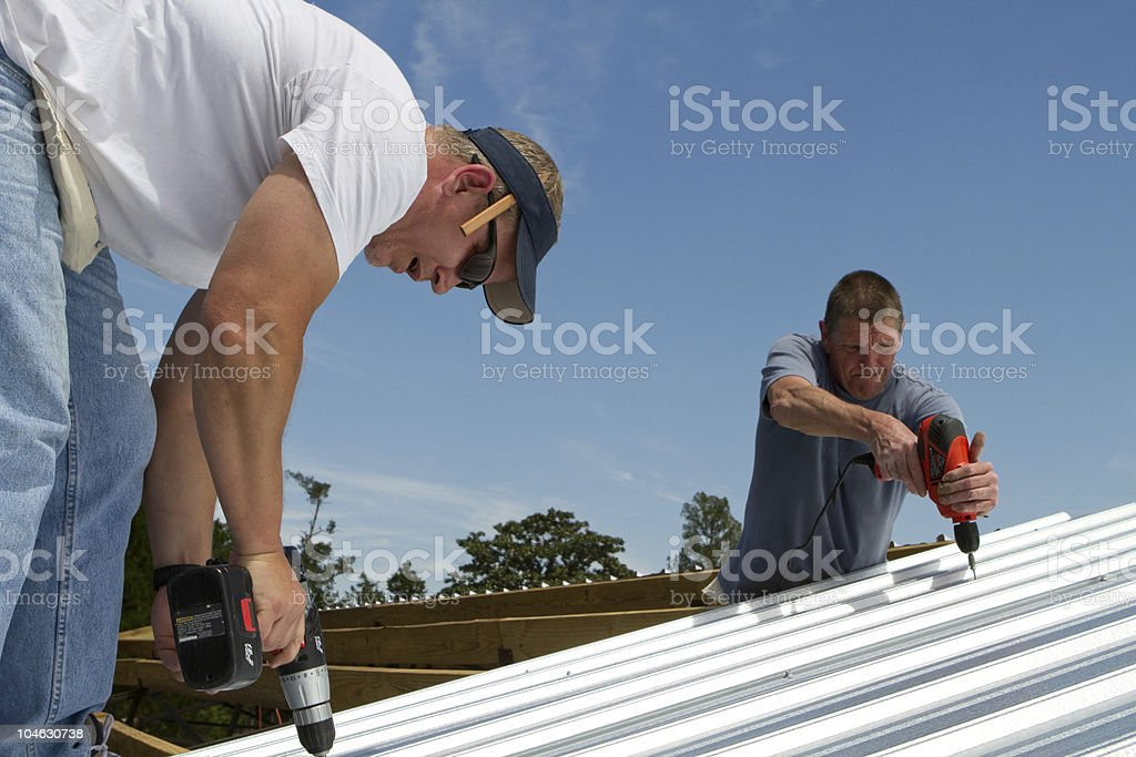 Construction Roofing Crew stock photo