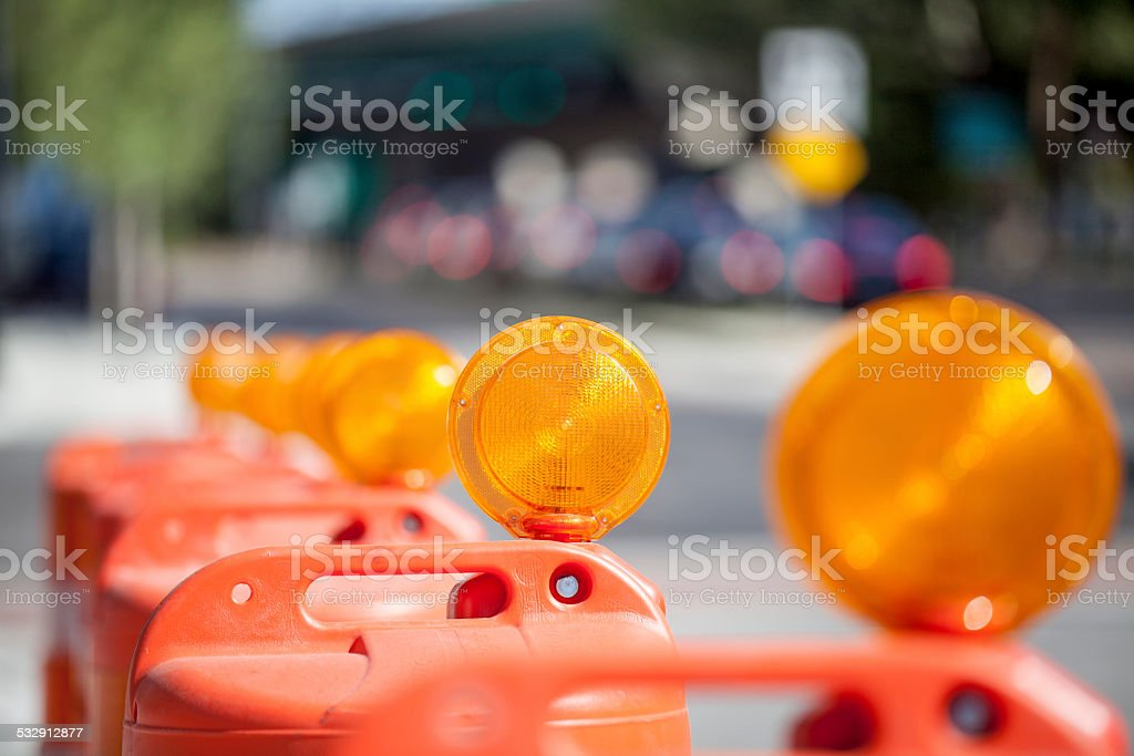 Construction Safety Barrier Barrels stock photo