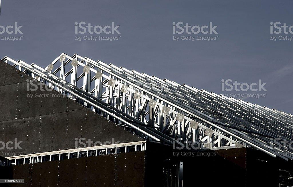construction scenes - metal roof building stock photo