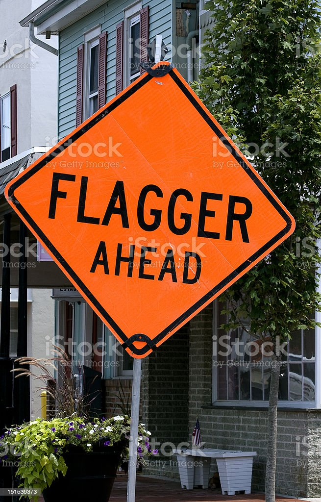 Construction Sign Flagger stock photo