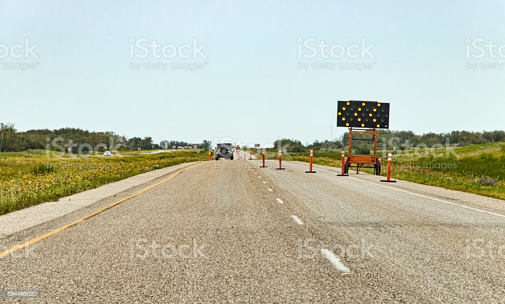 Construction Sign on Divided Highway stock photo