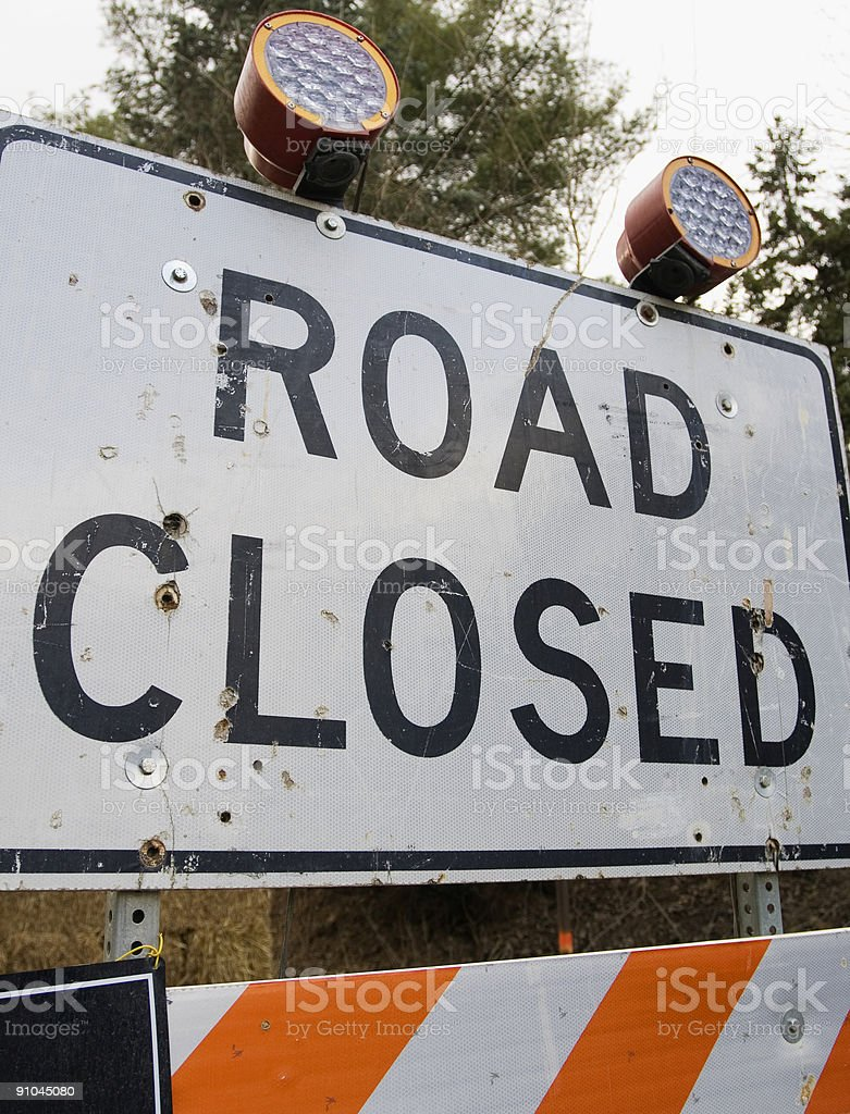 Construction Sign - Road Closed royalty-free stock photo