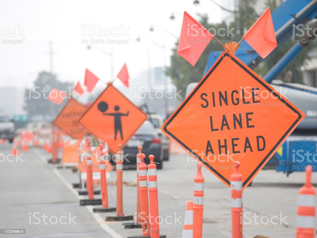 construction signs royalty-free stock photo
