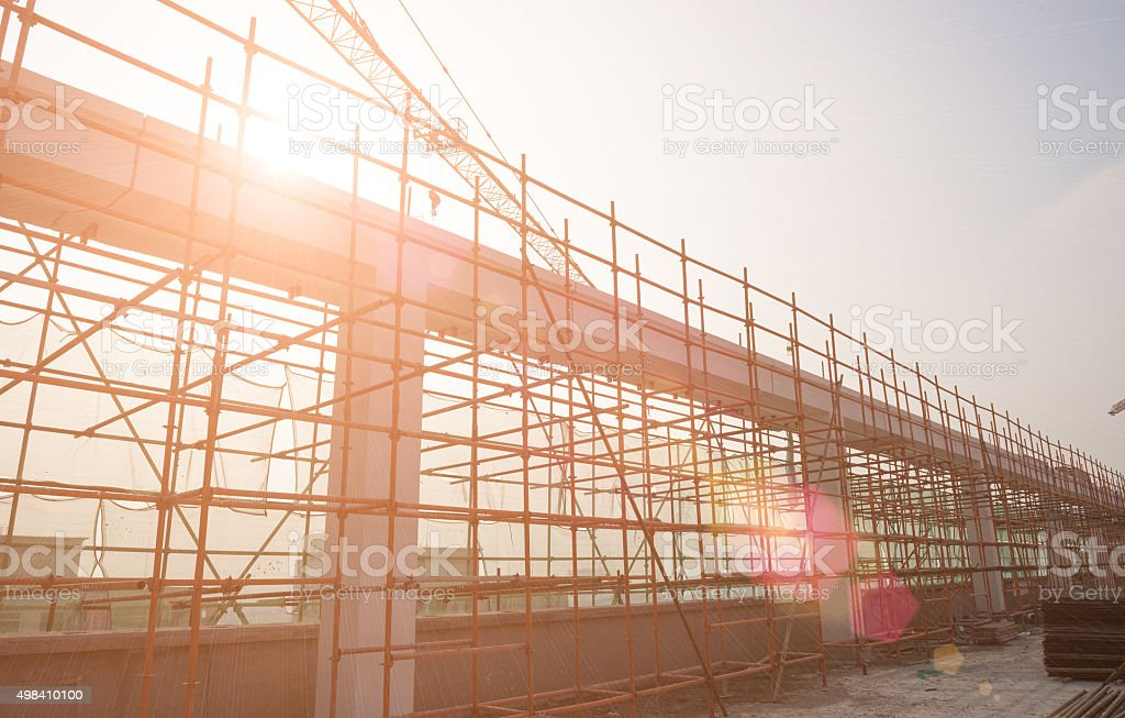 construction site against the sun stock photo