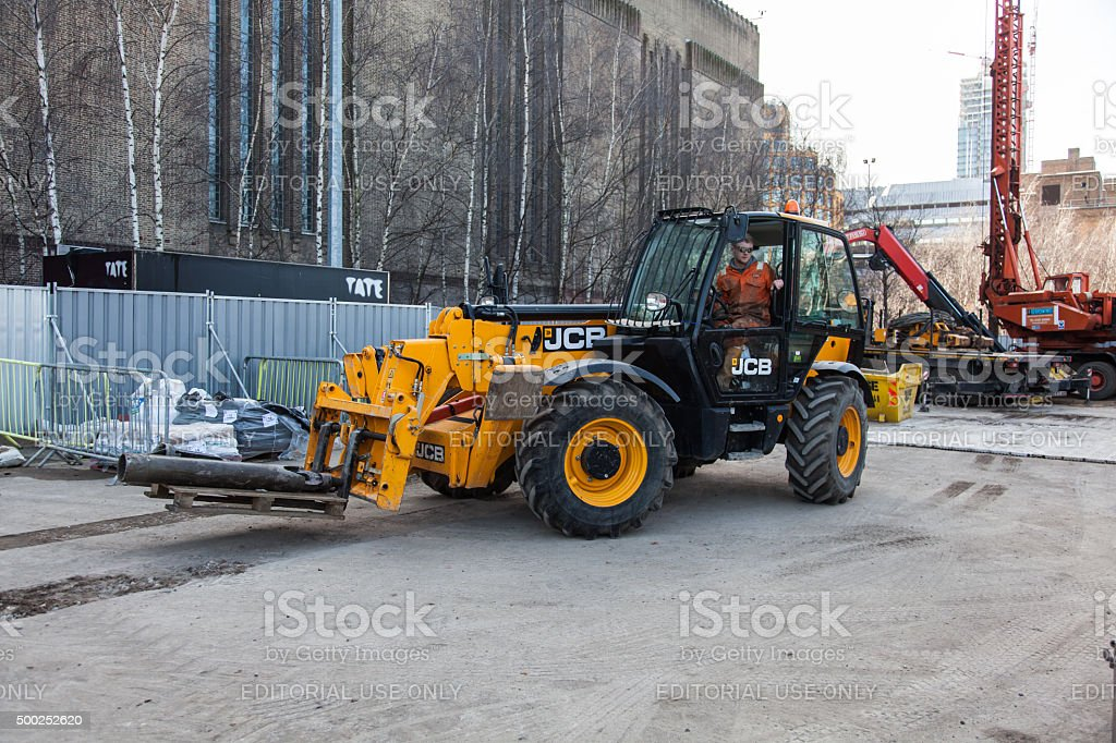 Construction site and a yellow JCB Forklift: stock photo