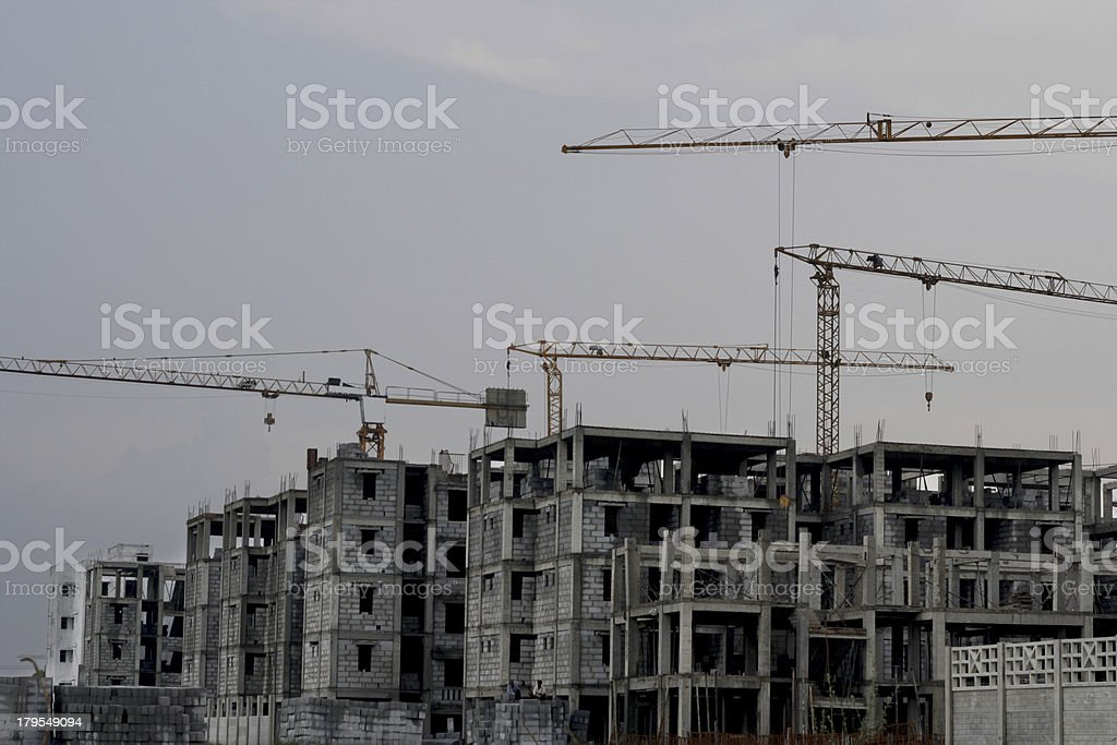 Construction Site and Clear Sky royalty-free stock photo