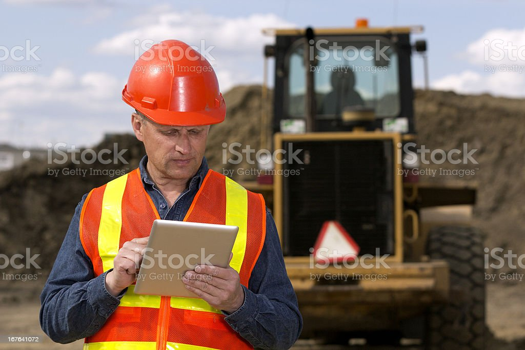 Construction Site and Computer royalty-free stock photo