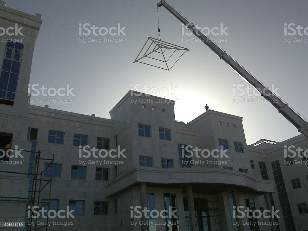 construction site and crane metal removal stock photo