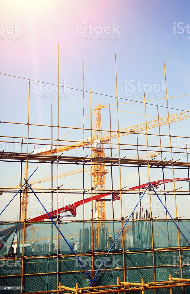 Construction site and crane royalty-free stock photo