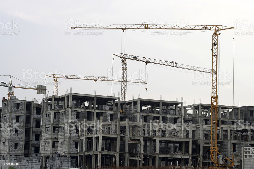 Construction Site and Tower Crane royalty-free stock photo