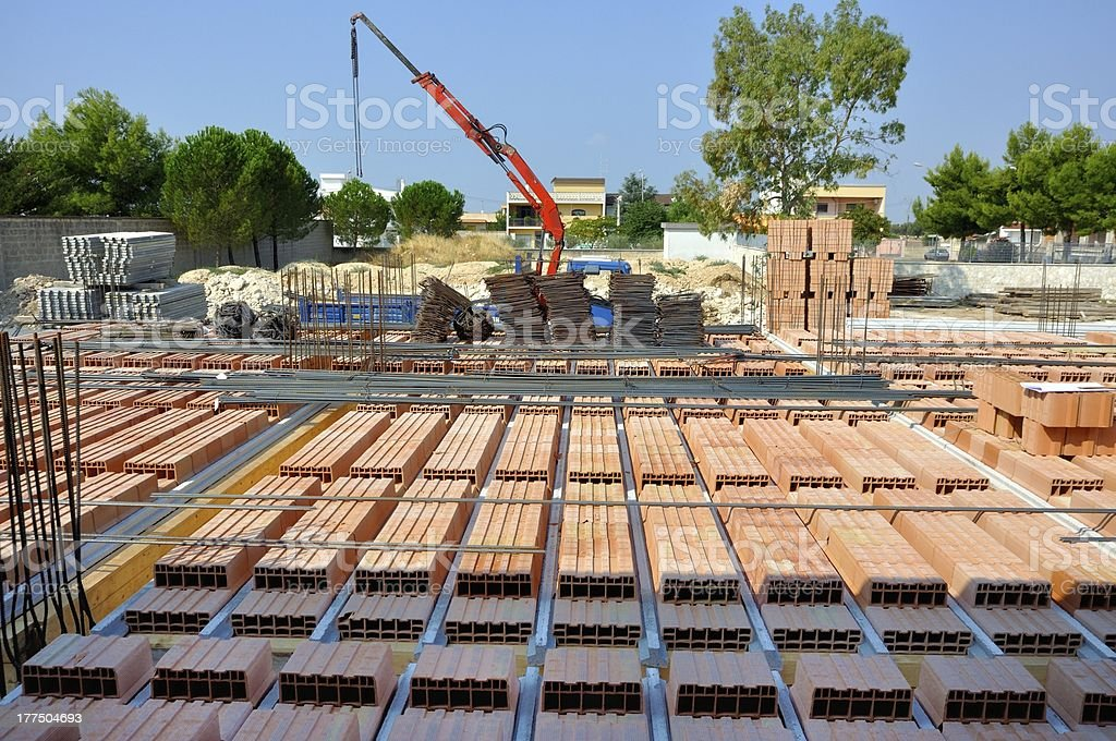 Construction site - Assembly floor in brick and cement structure royalty-free stock photo