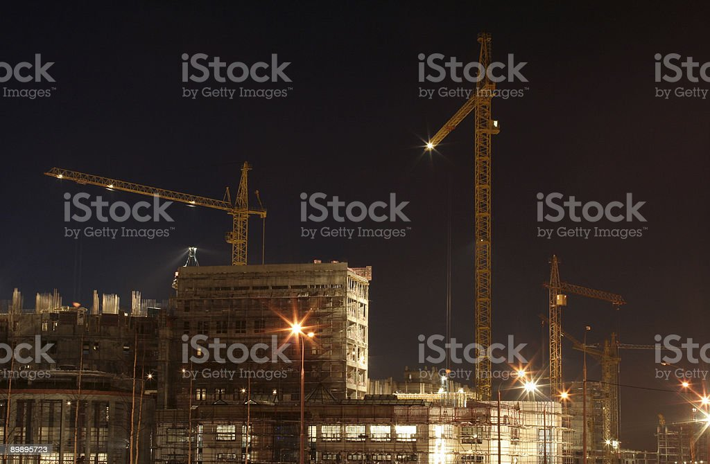 Construction site at dusk. royalty-free stock photo