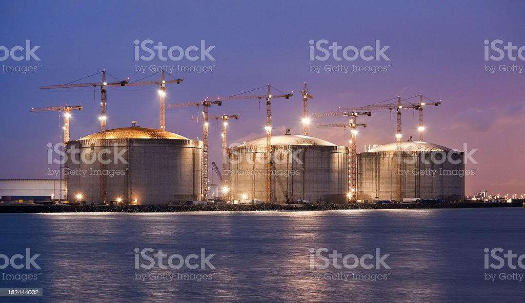 Construction site at night stock photo