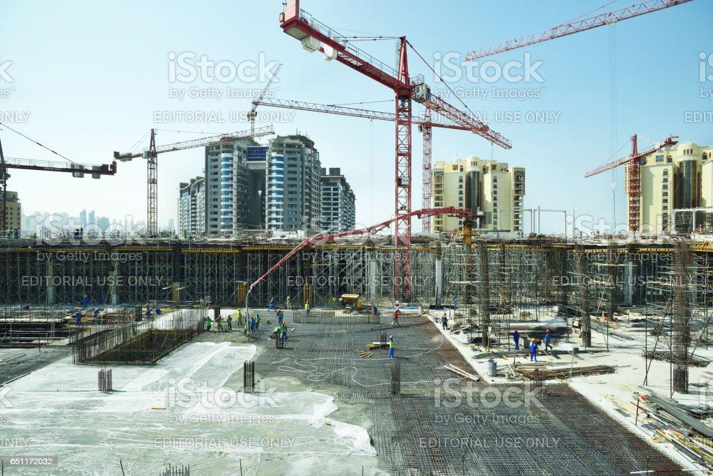 Construction Site at palm island in Dubai stock photo