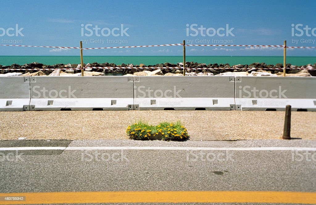 Construction site at the seafront - abstract geometrical backgro stock photo