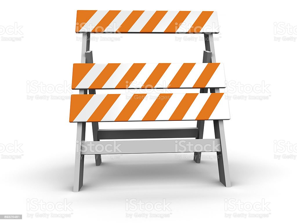 Construction site barrier isolated on white stock photo