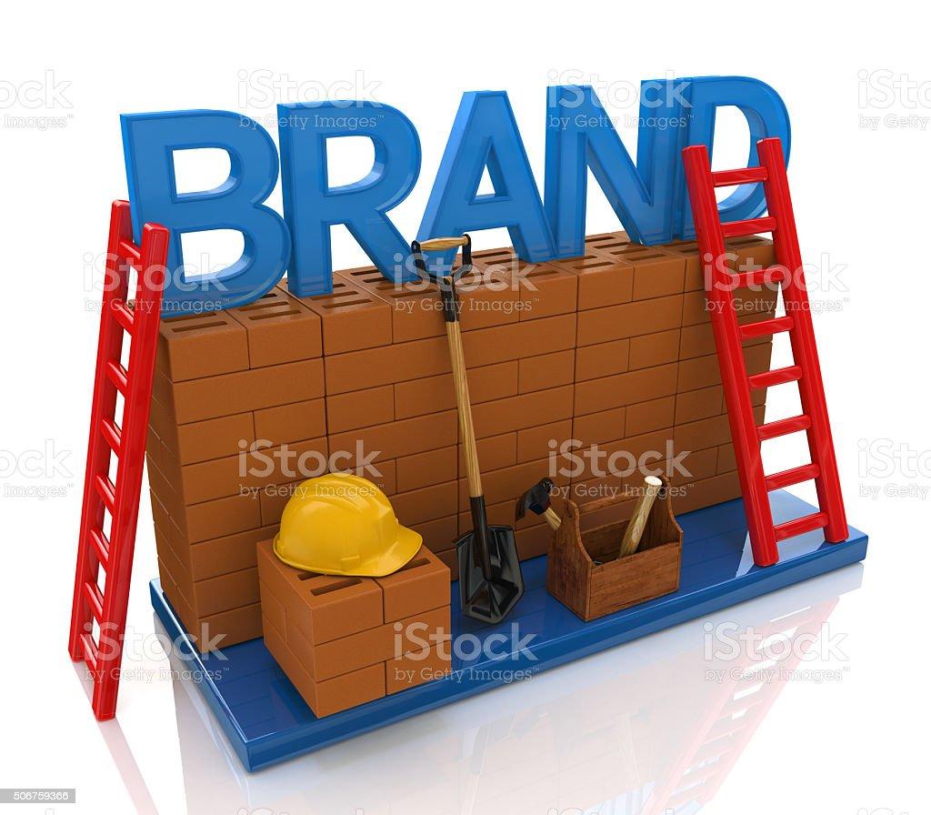 Construction site building brand text idea concept stock photo