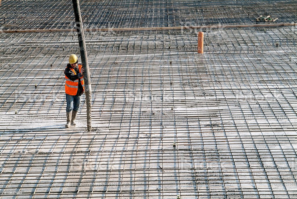 Construction site concrete casting on Reinforcing Bar of industr stock photo