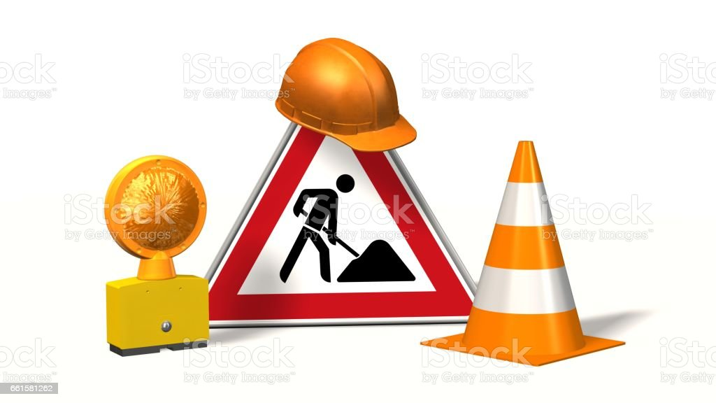 Construction site, construction site sign with pylons safety helmet and warning light isolated on white stock photo