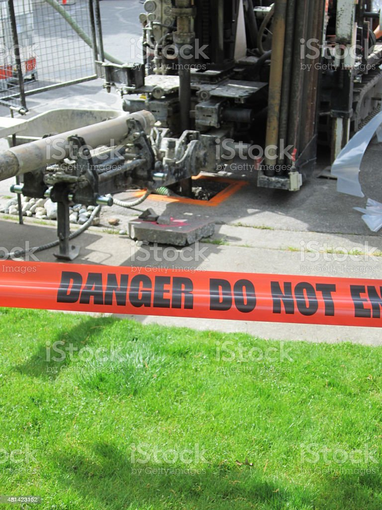 Construction Site cordoned off with Danger Tape stock photo