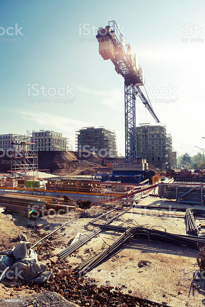 Construction site Europaviertel Frankfurt - back lit stock photo