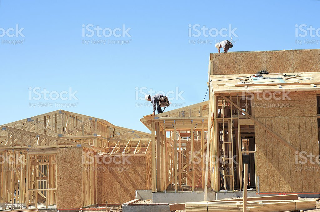 Construction site for a neighborhood stock photo