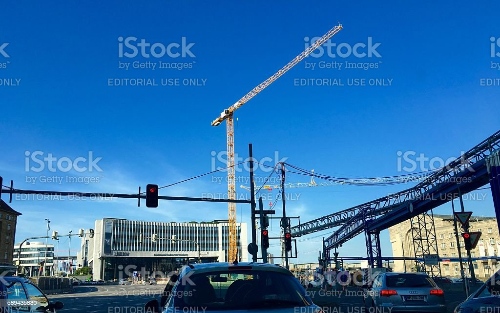 Construction site for the new railway station stock photo