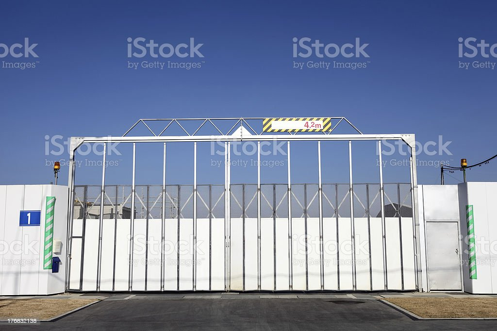 Construction site gate royalty-free stock photo