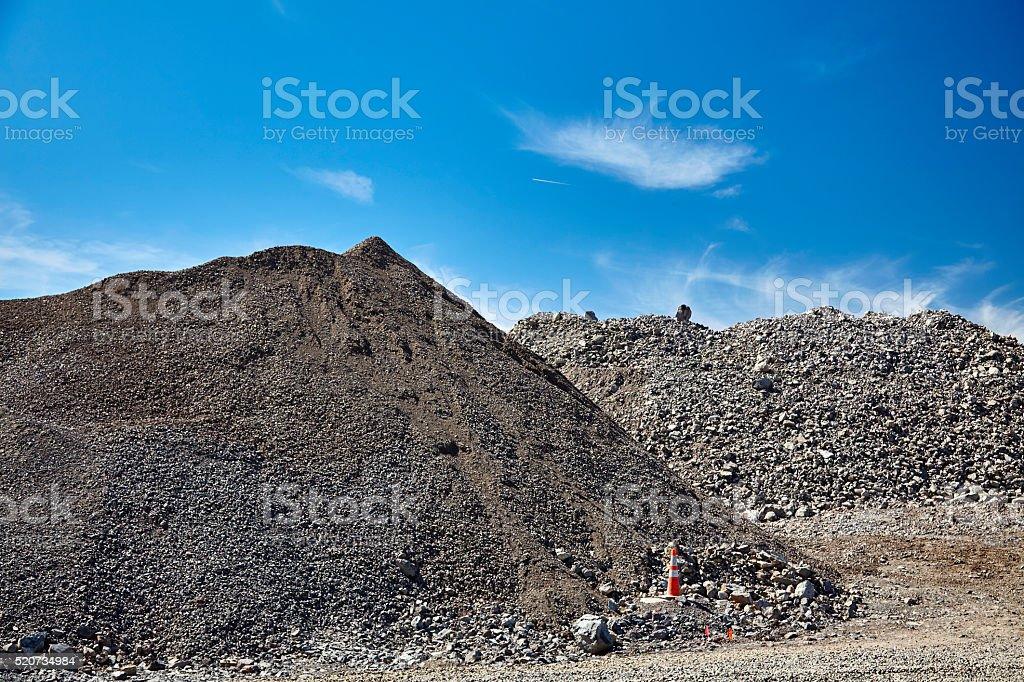 Construction site gravel fill various sizes stock photo