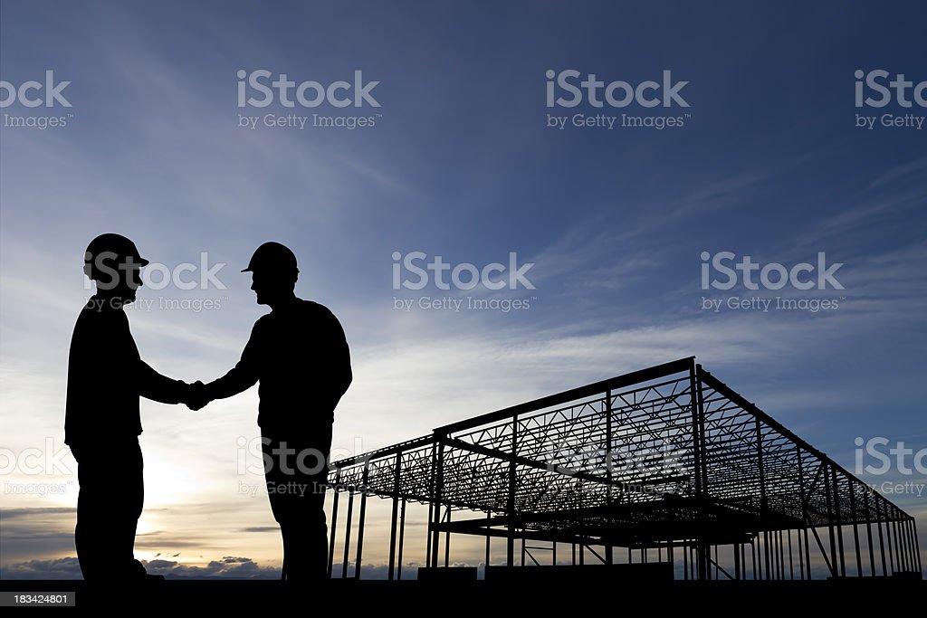 Construction Site Handshake stock photo