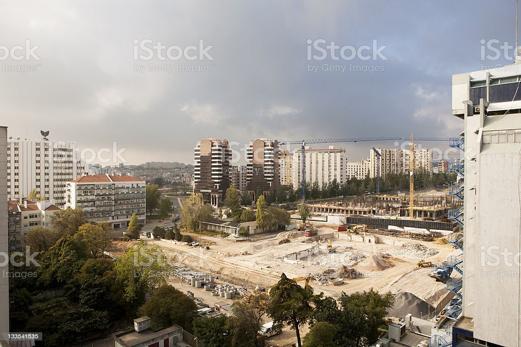 construction site in a city stock photo