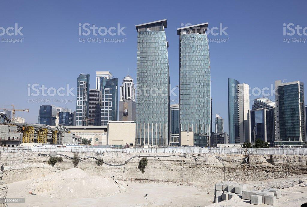 Construction site in Doha, Qatar stock photo