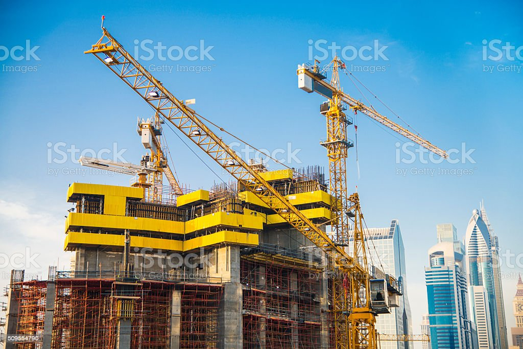 Construction site in Dubai stock photo