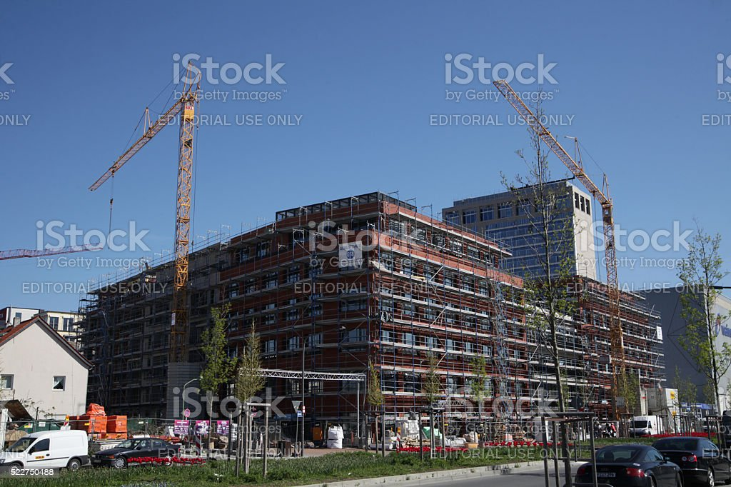 Construction site in Frankfurt, Germany stock photo