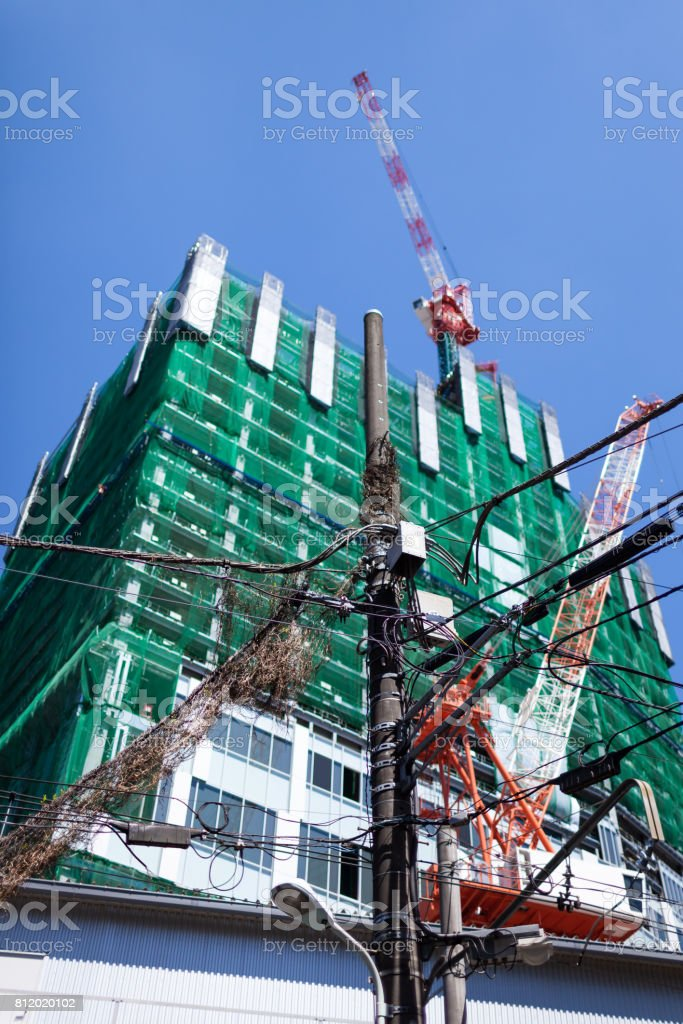 Construction site in Japan. stock photo