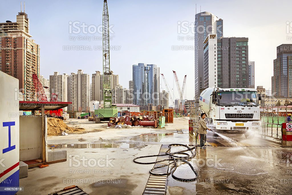 Construction site in Shanghai royalty-free stock photo