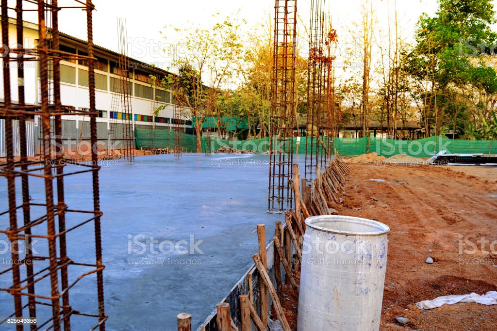 construction site in the morning stock photo