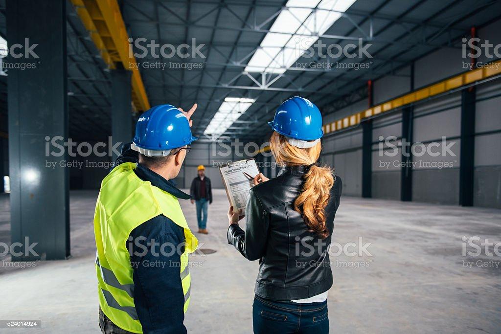 Construction Site Inspector at the work site stock photo