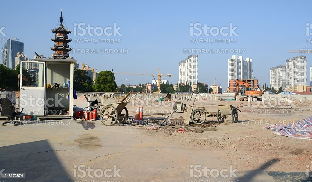 Construction site nearby Longhua Pagoda, Shanghai stock photo