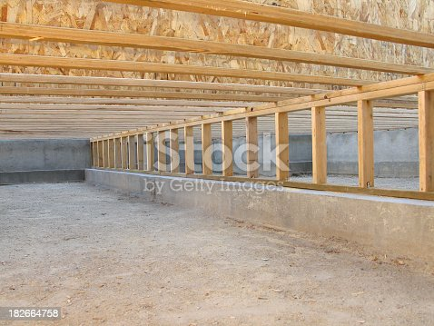 Construction Site Neat Clean Crawlspace Floor Joists And