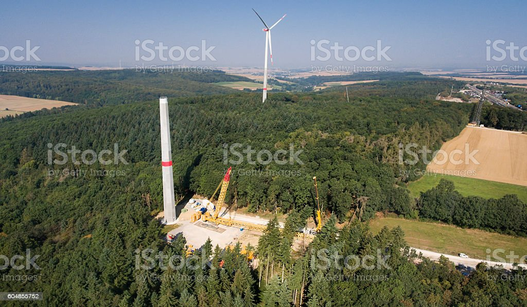 Construction site of a wind turbine, wind park, Rheingau-Taunus stock photo