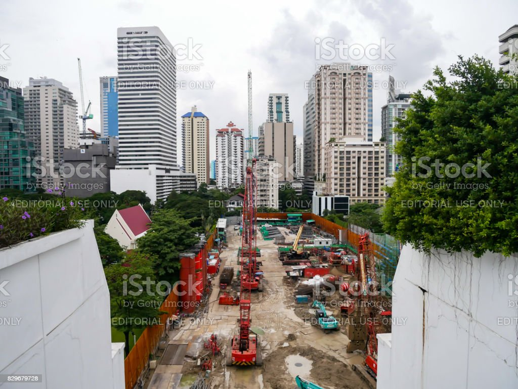 A Construction site of building being built stock photo