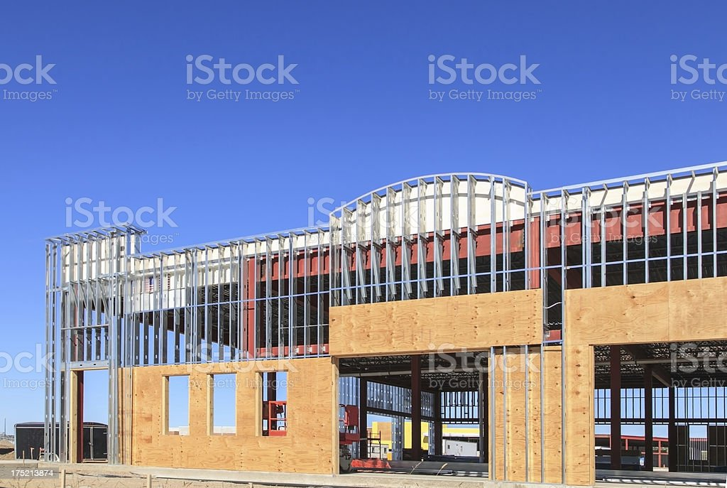 Construction site of new commercial building stock photo