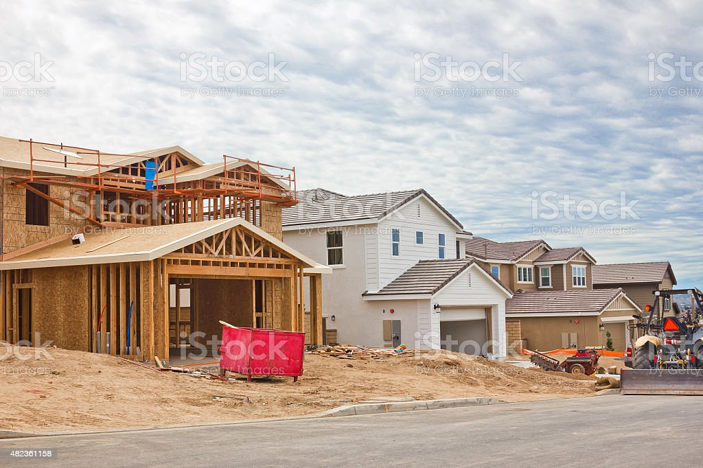 Construction Site of New Homes stock photo
