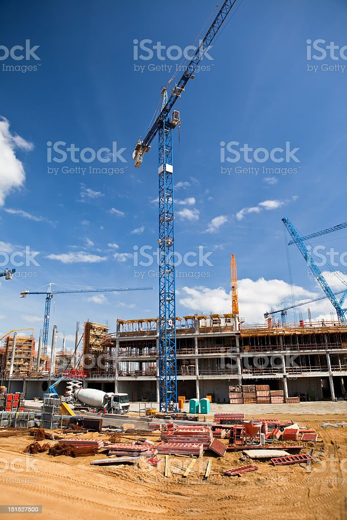 Construction site of soccer stadium in Wroclaw royalty-free stock photo