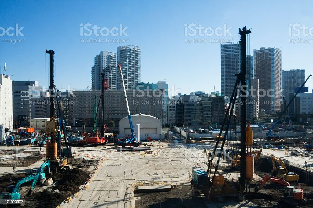 Construction site of the city landscape in Tokyo. stock photo