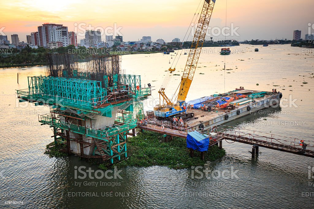 construction site of the main pillars for future subway line stock photo