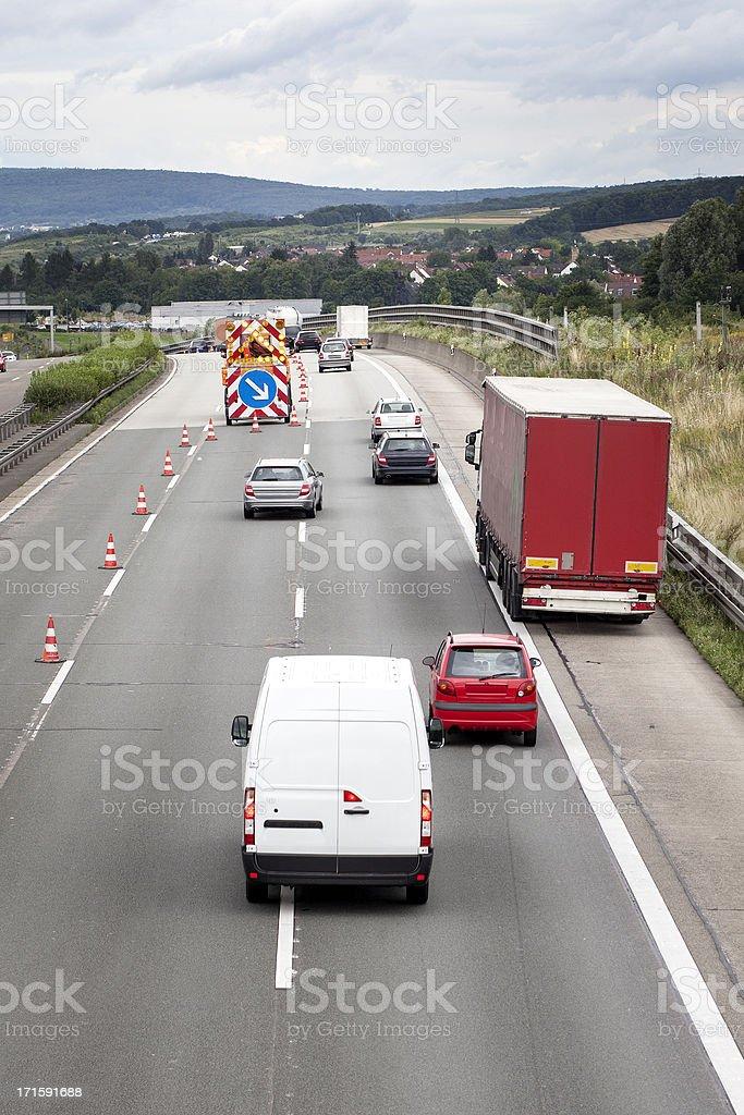 Construction site on german motorway stock photo