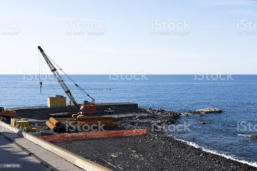 Construction site on the coast royalty-free stock photo